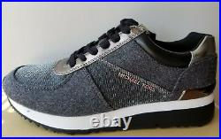 Michael KORS ALLIE Iconic MK Logo Grey Flannel Lurex Sneakers US 5 I LOVE SHOES