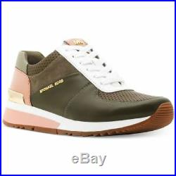 Michael KORS ALLIE MK Olive Pink PERFORATED GOLD Logo Sneakers US 9 I LOVE SHOES