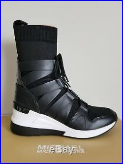 Michael KORS BECKETT MK Logo Stretch Fabric WEDGE Sneakers Booties I LOVE SHOES