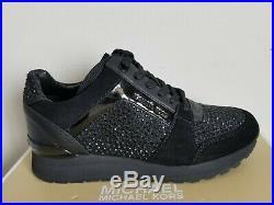 Michael KORS BILLIE Black Crystal MK Logo WEDGE Sneakers 5 5.5 6 I LOVE SHOES