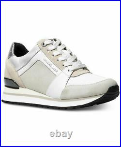 Michael KORS BILLIE SUEDE Optic White Logo Trainer Sneakers US 6.5 I LOVE SHOES