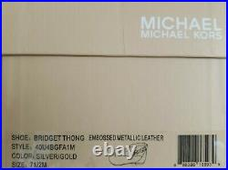 Michael KORS BRIDGET GOLD SILVER LIZARD MK GOLD LOGO THONG SANDALS I LOVE SHOES