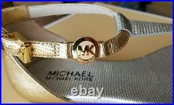 Michael KORS BRIDGET ICONIC CROCO LIZARD MK GOLD LOGO THONGS I LOVE SHOES