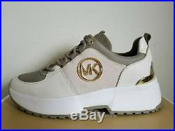 Michael KORS COSMO Iconic Gold MK Logo Cream Suede Sneakers US 6.5 I LOVE SHOES