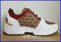 Michael KORS COSMO Iconic MK LOGO PRINT CANVAS Sneakers US 8.5 11 I LOVE SHOES