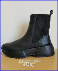 Michael KORS COSMO MK LOGO KNIT DETAIL BLACK LEATHER BOOTIES US 7 I LOVE SHOES