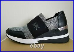Michael KORS FELIX SILVER LUREX GLITTER Chain Mesh LOGO Sneakers I LOVE SHOES