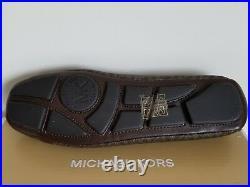 Michael KORS FULTON BROWN MINI MK GOLD LOGO SIGNATURE PVC MOCCASINS I LOVE SHOES