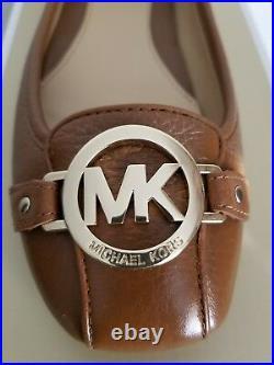 Michael KORS FULTON MOC GOLD MK LOGO TUMBLED LUGGAGE MOCCASINS WIDE I LOVE SHOES