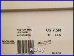 Michael KORS FULTON MOC MK BLACK LOGO SMOOTH LEATHER MOCCASINS I LOVE SHOES
