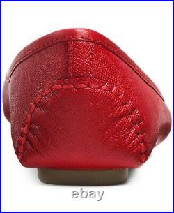 Michael KORS FULTON MOC RED SAFFIANO GOLD Logo Moccasins Flats I LOVE SHOES