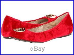 Michael KORS FULTON RED QUILTED VELOUR GOLD MK LOGO FLATS I LOVE SHOES VALENTINE