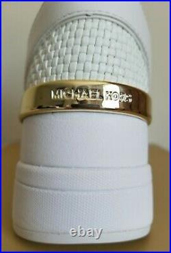 Michael KORS GEORGIE ICONIC WHITE WOVEN MK LOGO WEDGE SNEAKERS I LOVE SHOES