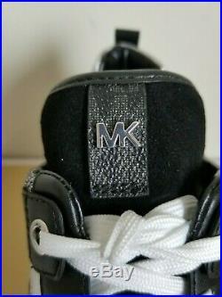 Michael KORS GEORGIE MK LOGO BLACK SILVER LUREX TRAINER SNEAKERS I LOVE SHOES