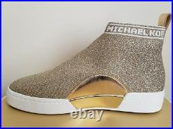 Michael KORS GROVER Gold Stretch WHITE LOGO Knit Skate Sneakers 10 I LOVE SHOES