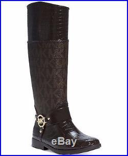 Michael KORS HARNESS CROCO ICONIC MK GOLD Logo Tall RAIN RIDING BOOTS LOVE SHOES