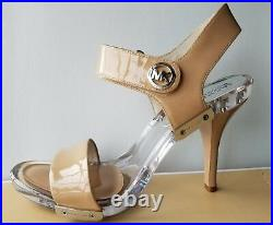 Michael KORS LANI PATENT NUDE MK LOGO CLEAR LUCITE FOOTBED US 9 I LOVE SHOES NR