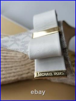 Michael KORS MEG VANILLA MK SIGNATURE PVC LOGO BOW ESPADRILLE THONG I LOVE SHOES