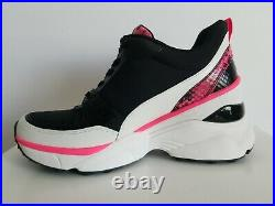 Michael KORS MICKEY Iconic Black NEON Pink MK Logo Sneakers US 8 I LOVE SHOES