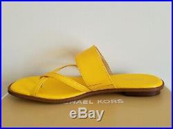 Michael KORS SIDNEY YELLOW MK GOLD LOGO GLADIATOR THONGS SANDALS 11 I LOVE SHOES