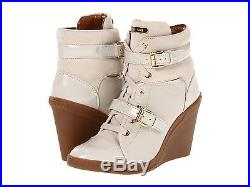 Michael KORS SKID ICONIC SEXY GOLD LOGO BUCKLE LACE UP WEDGE SNEAKERS LOVE SHOES
