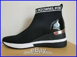 Michael KORS SKYLER Black Stretch Fabric White Logo WEDGE Sneakers I LOVE SHOES