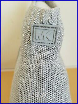 Michael KORS SKYLER MK Logo Silver Stretch WEDGE Sneakers US 9 LOVE SHOES NO BOX
