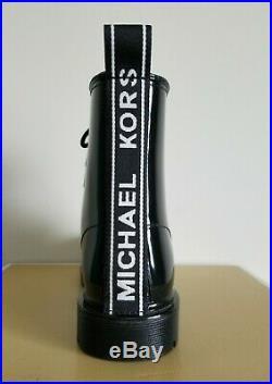 Michael KORS TAVIE MK CONTRAST LOGO BLACK LACE UP SHORT RAIN BOOTS I LOVE SHOES
