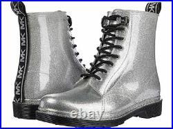 Michael KORS TAVIE MK LOGO SILVER GLITTER LACE UP SHORT RAIN BOOTS I LOVE SHOES