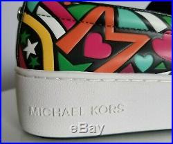 Michael KORS TRENT FUNKY HEART PRINT LOGO SLIP ON SNEAKERS 5 7.5 8 I LOVE SHOES