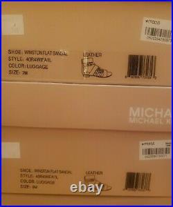 Michael KORS WINSTON LUGGAGE GOLD MK LOGO ZIPPER BUCKLE CAGE US 7 8 I LOVE SHOES