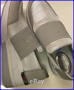 Michael Kors $145 Felix Sneakers Shoes 8.5 White Silver Wedge Glitter Mesh NIB