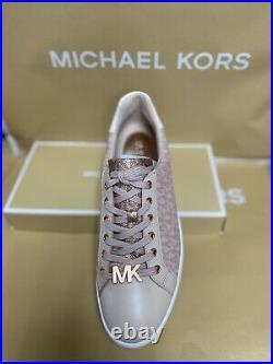 Michael Kors 8 Pink Tan Leather Canvas Monogram Logo Sneakers Tennis Shoes MK