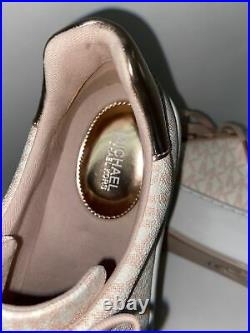 Michael Kors 9 Pink Tan Leather Canvas Monogram Logo Sneakers Tennis Shoes MK