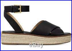 Michael Kors Abbott Leather Espadrille Sandals In Black Size 8M