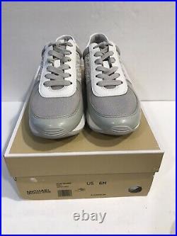 Michael Kors Allie Trainer Metallic Lasered PU Sneakers Shoe Silver