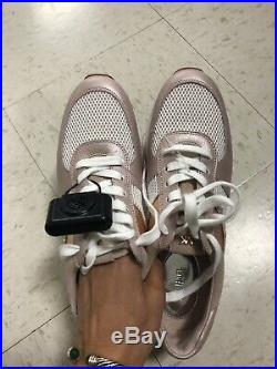 Michael Kors Allie Trainer Metallic Leather Sneakers Shoes Soft Pink Size 9.5