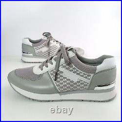 Michael Kors Allie Trainer Sneakers Gray White Logo Metal Back Shoes Size 10M