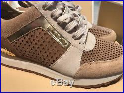 Michael Kors Allie Trainer Sneakers Tan/ Gold Size 7.5 M NIB