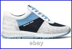 Michael Kors Allie Wrap Trainer Tech Canvas Blue Sneaker Shoe MK Logo Size 9.5