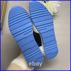 Michael Kors Allie Wrap Trainer Tech Canvas Blue Sneaker Shoe MK Logo Sz 7.5 NIB