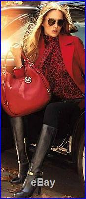 Michael Kors Arley Gold Logo Plate Harness Sexy Tall Zipper Boots I Love Shoes