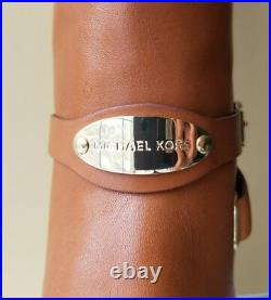 Michael Kors Arley Iconic Rare Gold Logo Plate Harness Tall Boots I Love Shoes