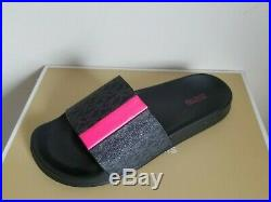 Michael Kors Ayla Mini Mk Logo Black Neon Pink Hot Slides For You 8 I Love Shoes