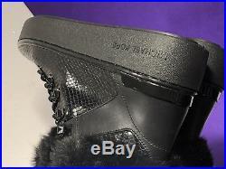 Michael Kors Black Embossed Fur Winter Boots HJ17F US 6.5M