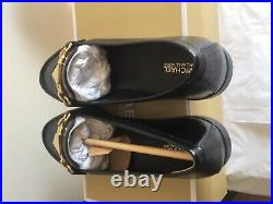 Michael Kors Black Emily Loafer Embossed Patent Shoes Size UK5.5 Rrp £150 Genuin