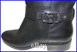 Michael Kors Black Fulton Harness Tall Riding Boots Flat Bootie 8- 38