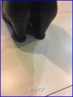 Michael Kors Black Leather/Elastic Wedge Boots Size 9