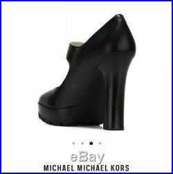 Michael Kors Black Leather Flynn Mary Jane Shoes Buckle Goth Platform Heels