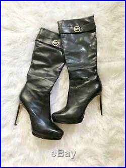 Michael Kors Black Leather Stiletto Boots 11M
